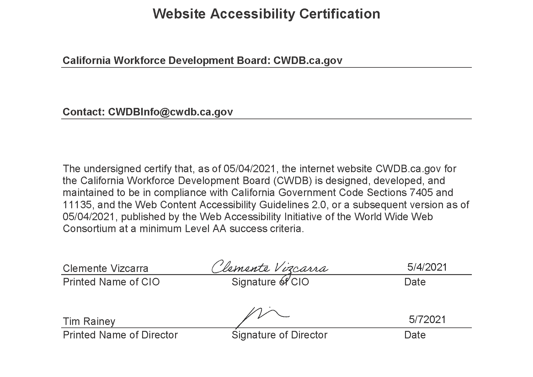 C W D B Website Accessibility Certification Screenshot